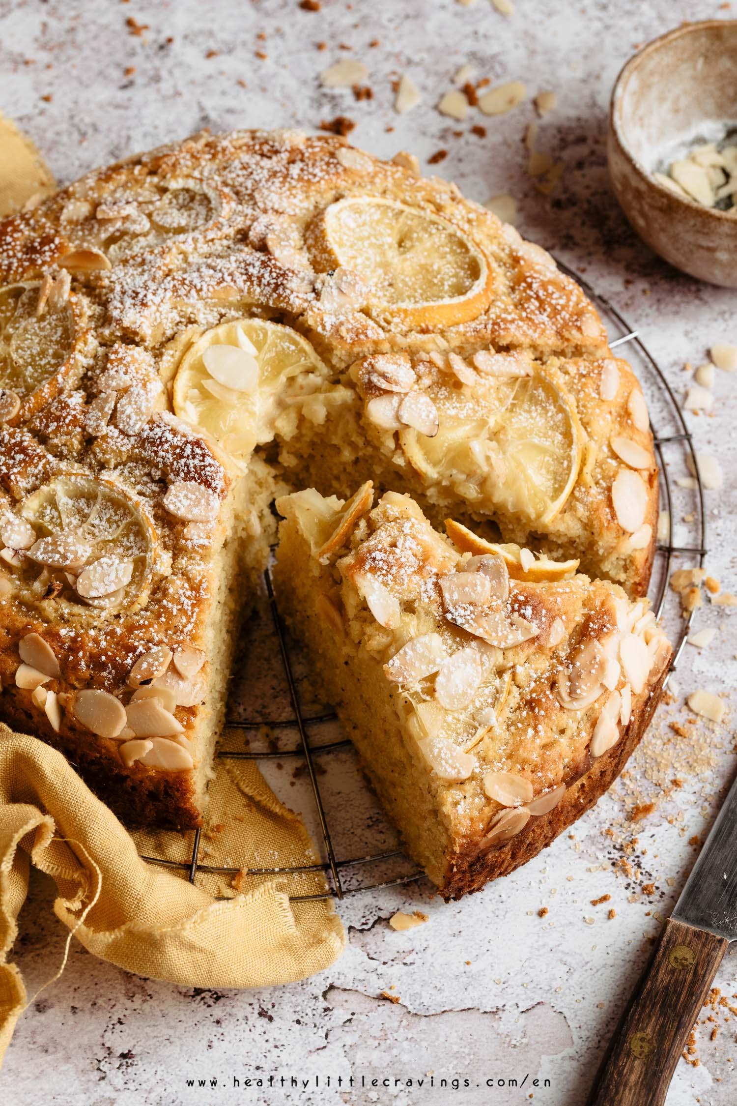 A slice of lemon ricotta cake