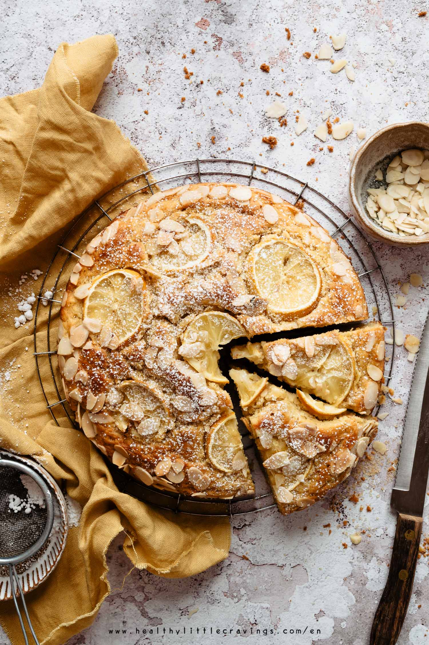 Ricotta cake with slices of lemon on top