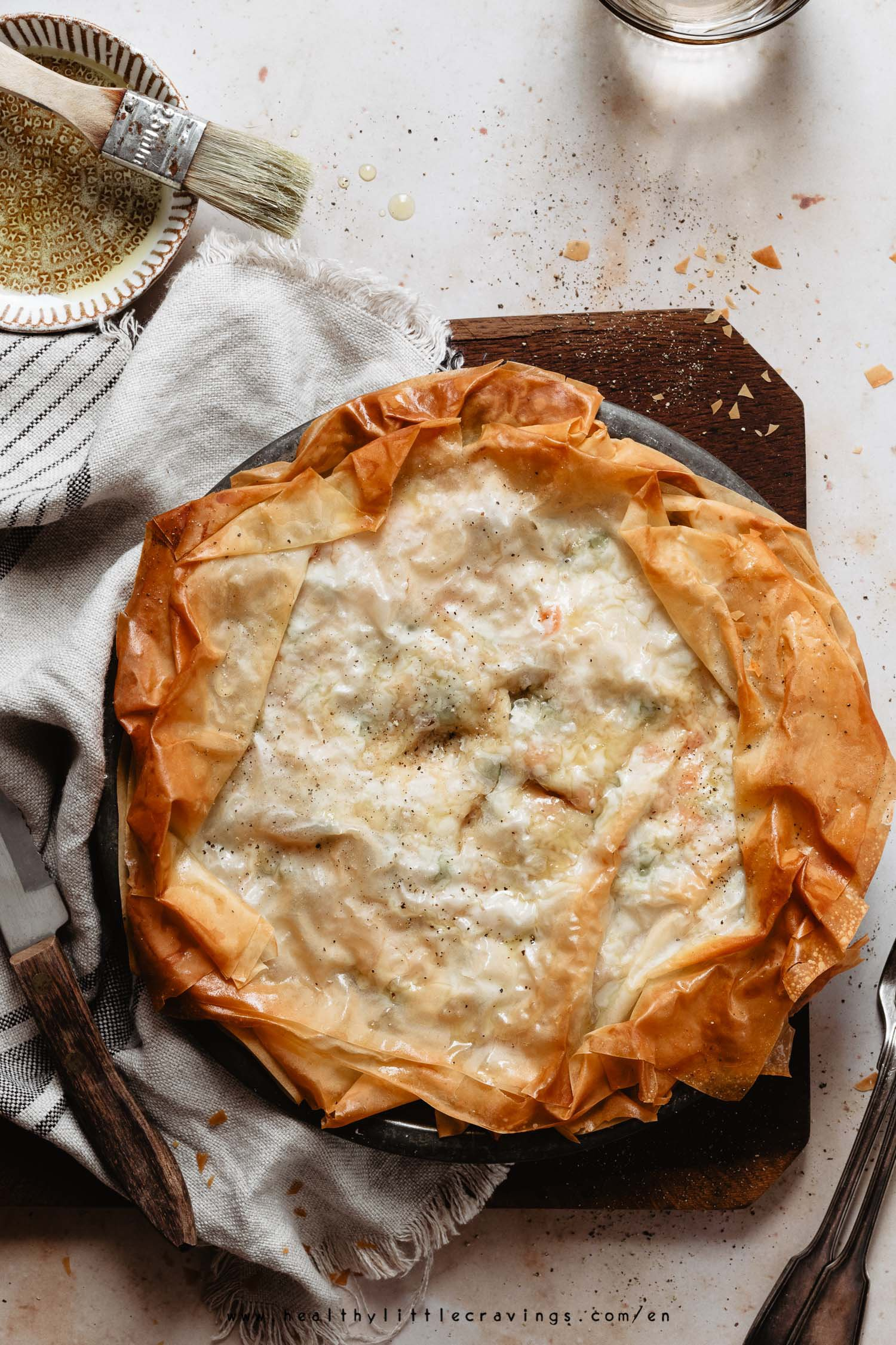 Healthy chicken pot pie with phyllo crust on a napkin