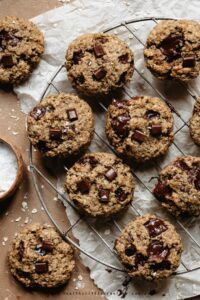 Healthy vegan banana bread cookies with oats