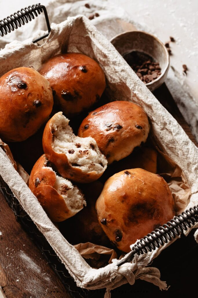 Chocolate chips milk buns in a basket