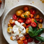 This tomato caprese with burrata is definitely not traditional, try it!